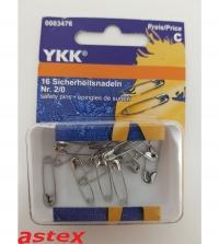 Sicherheitsnadel YKK No.2/0 22mm 16Stk